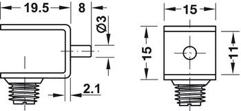 Super Plankdrager, voor glazen schappen, om in boorgat-Ø 3 mm te steken FH-36